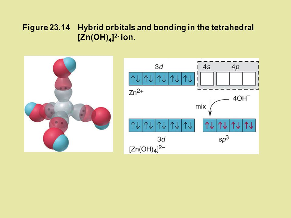 Figure 23.14 Hybrid orbitals and bonding in the tetrahedral [Zn(OH)4]2- ion.